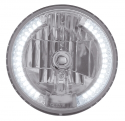 Crystal Headlight Bulb with 34 Auxiliary LED - White LED/Clear Lens