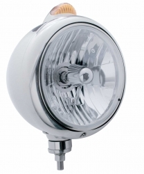 Peterbilt Classic Headlight - 10 LED Crystal Halogen Bulb w/ Clear Lens/Dual Function
