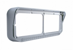 19 LED Rectangular Dual Headlight Bezel W/Visor - Amber LED/Clear Lens