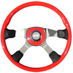 "Tour America Series 4 Spoke 18"" Red Steering Wheel"