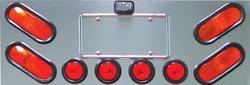 "Universal Rear Center Panel with 4 Oblong & 4x2 1/2"" Light Holes"