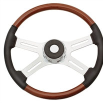 "Peterbilt 4 Spoke 18"" Fixed Column Steering Wheel with Leather"